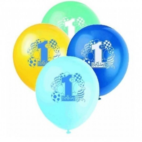 Palloncini Assortiti 1° Compleanno Blu 8pz