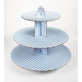 Alzata Cupcake Quadretti Azzurro