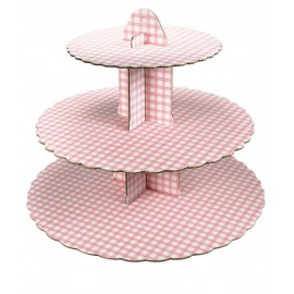 Gingham Pink Cupcake Stand