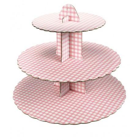 Gingham Pink Cupcake Stand