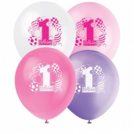 Palloncini Assortiti 1° Compleanno Rosa 8pz