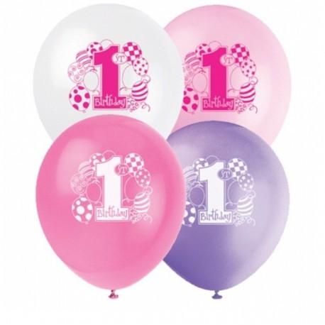 Palloncini Assortiti 1 Compleanno Festa Primo Compleanno Bimba