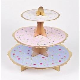 Alzata Cupcake Quadretti Rosa