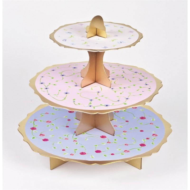 Alzata per Cupcakes Floreale reversibile Fucsia