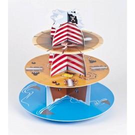 Alzata Cupcake Floreale Reversibile Fucsia