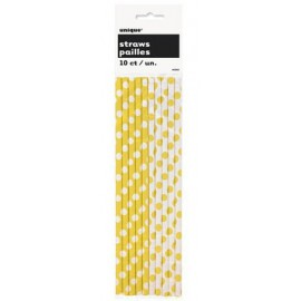 Yellow Dots Paper Straws