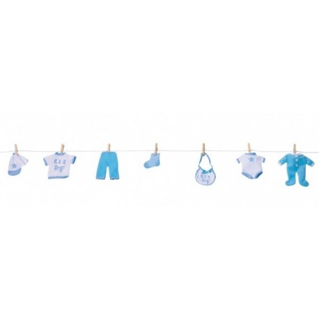 Ghirlanda vestitini in tessuto azzurra