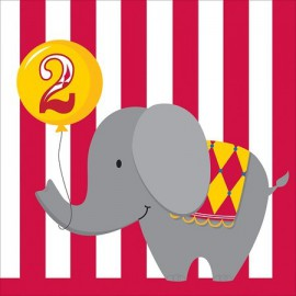 Circus Time 2nd Birthday Lunch Napkins