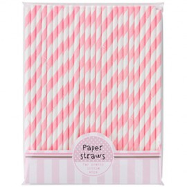 Pink Striped Paper Straws 30pc
