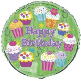 Cupcake Party Happy Birthday Foil Balloon