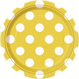 Yellow Dots Paper Dessert Plates