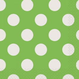 Lime Green Dots Beverage Napkins