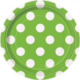 Green Dots Paper Dessert Plates