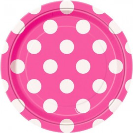 Bright Pink Dots Paper Dinner Plates
