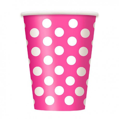 Bright Pink Dots Paper Cups