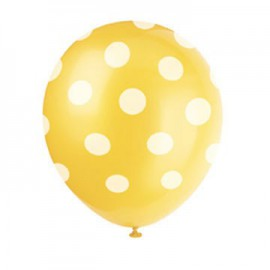 Yellow Dots Latex Balloons