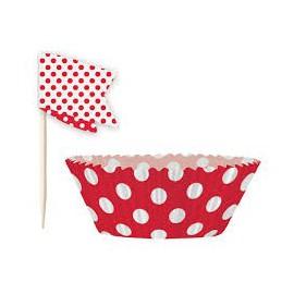 Kit Decorazione Cupcakes Pois Rosso