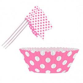 Kit Decorazione Cupcakes Pois Fucsia