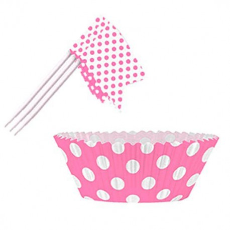 kit decorazione cupcakes con pirottini e bandierine pois