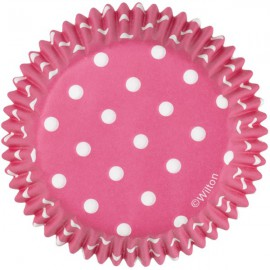 Cupcakes Baking Cups Bright Pink Dots