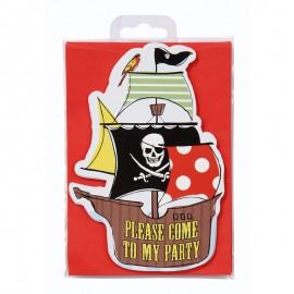 Inviti con busta Festa Pirata