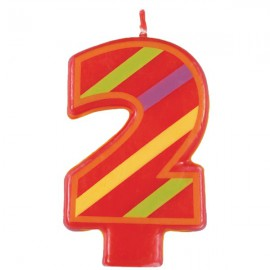 Fun Striped Number 2 Candle