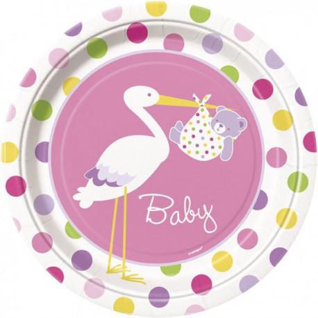 Baby Girl Stork Dinner Plates