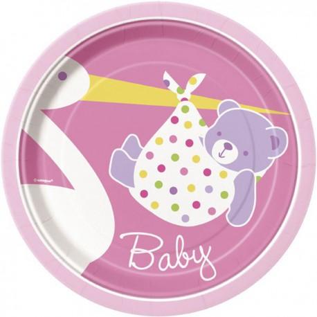 Baby Girl Stork Dessert Plates