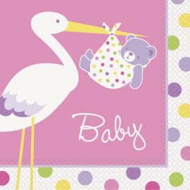 Baby Girl Stork Beverage Napkins