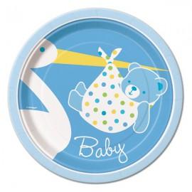 Baby Boy Stork Dessert Plates