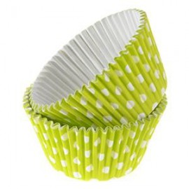 Lime Green Dots Rigid Cupcakes Baking Cups