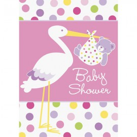 Inviti Baby Shower Cicogna Rosa