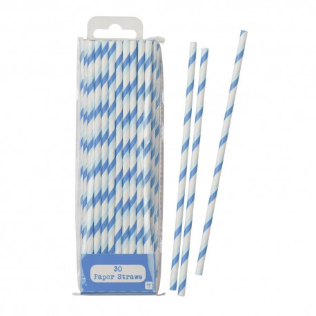 Blue Striped Paper Straws 30pc
