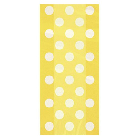 Borsine cellophane giallo pois 20pz