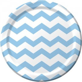 Pastel Blue Chevron Dinner Plates
