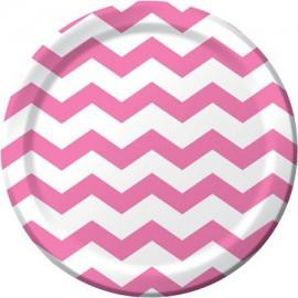 Pink Chevron Dinner Plates