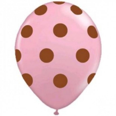 Pink and Brown Dots Latex Balloons