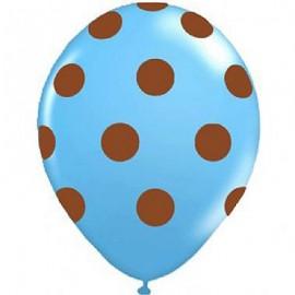 Palloncini lattice azzurro a pois marrone 5pz