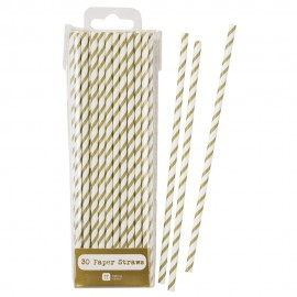 Gold Striped Paper Straws 30pc