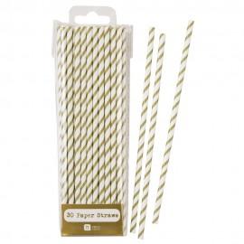 Gold Striped Paper Straws 30pc