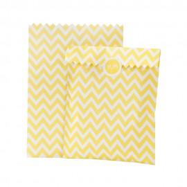 Borsine in carta giallo e bianco con adesivi