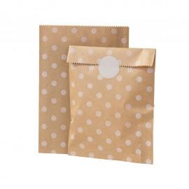 Bustine in carta kraft a pois bianco con adesivi