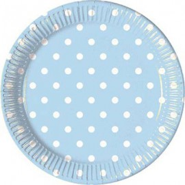 Light Blue Dots Paper Plates