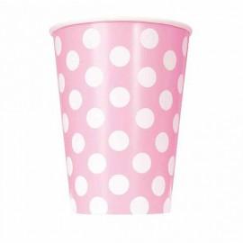 Bicchieri carta rosa a pois
