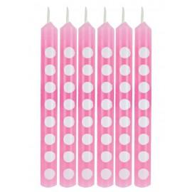 Candeline rosa a pois bianco 12pz
