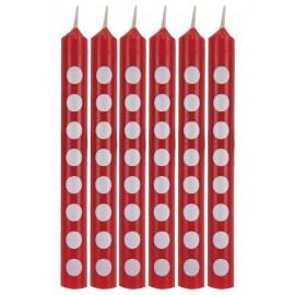 Candeline rosse a pois bianco 12pz
