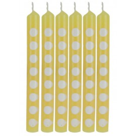 Candeline gialle a pois bianco 12pz