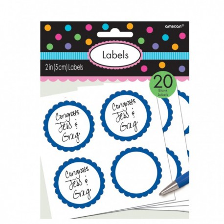 Royal Blue Scalloped Labels 20pc