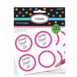 Bright Pink Scalloped Labels 20pc