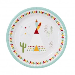 Pow Wow plates in 2 designs for Indian party
